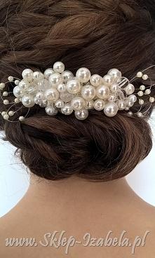 grzebień ślubny z perełkami, dla Panny Młodej