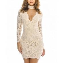 Beżowa koronkowa sukienka ołówkowa mini ze stójką