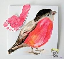 Kartka z odciskiem stópki, ptak.