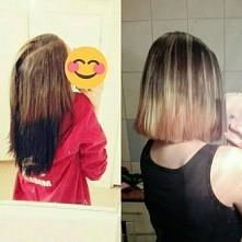 efekt co prawda nie powala ale jest  o wiele lepiej niż było :) jak na pierwszą wizyte fryzjerka zdołała ściągnąć cały czarny kolor. użyła tylko rozjasniacza przy dekoloryzacji ...