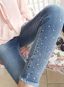 Jeansy kryształki MITI BACI. Unikalne spodnie typu rurki. Ottanta - sklep online