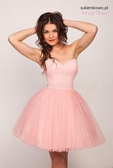 COCO - Sukienka gorsetowa tiulowa warstwowa pudrowy róż Kliknij w zdjęcie