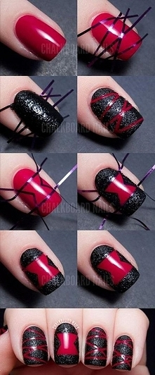 Black and Red Striped Nail Art Tutorial