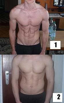1 Redukcja vs 2 Masa.  Przykład jak bardzo zawartość tkanki tłuszczowej wpływa na wygląd ciała.