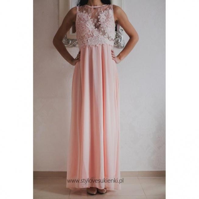 Morelowa długa szyfonowa sukienka dla świadkowej z koronkową górą
