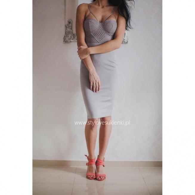 Szara gorsetowa sukienka midi z ciekawymi ramiączkami