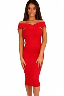 Czerwona ołówkowa sukienka ...