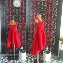 Czerwona sukienka asymetryczna .Sukienka na wesele . mohho.pl w cenie 139.99 zł