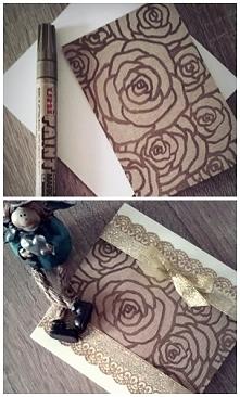 karteczka z malowanymi na szarym papierze różyczkami :)