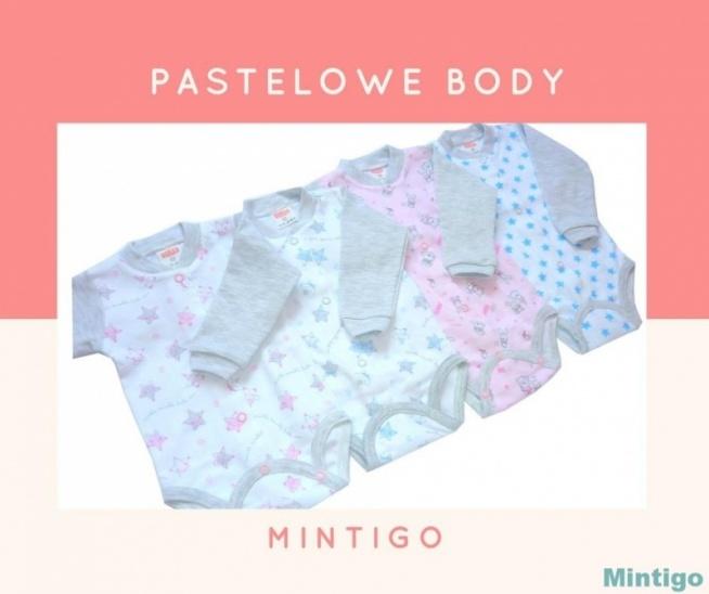 Śliczne body w pastelowych kolorach :)  Zapraszam na moje aukcje po świetnej jakości ubranka dla maluszków w rozmiarach 56-98 tylko od polskich sprawdzonych producentów :)  Szukaj mnie na allegro po nazwie użytkownika: mintigo