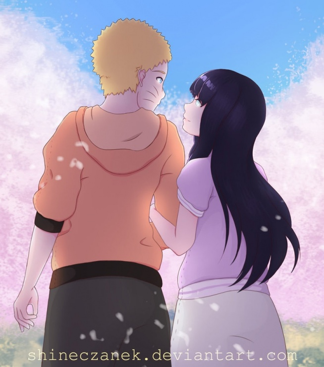 Mój nowy rysuneczek - Fan art Naruto i Hinaty ;3 <3
