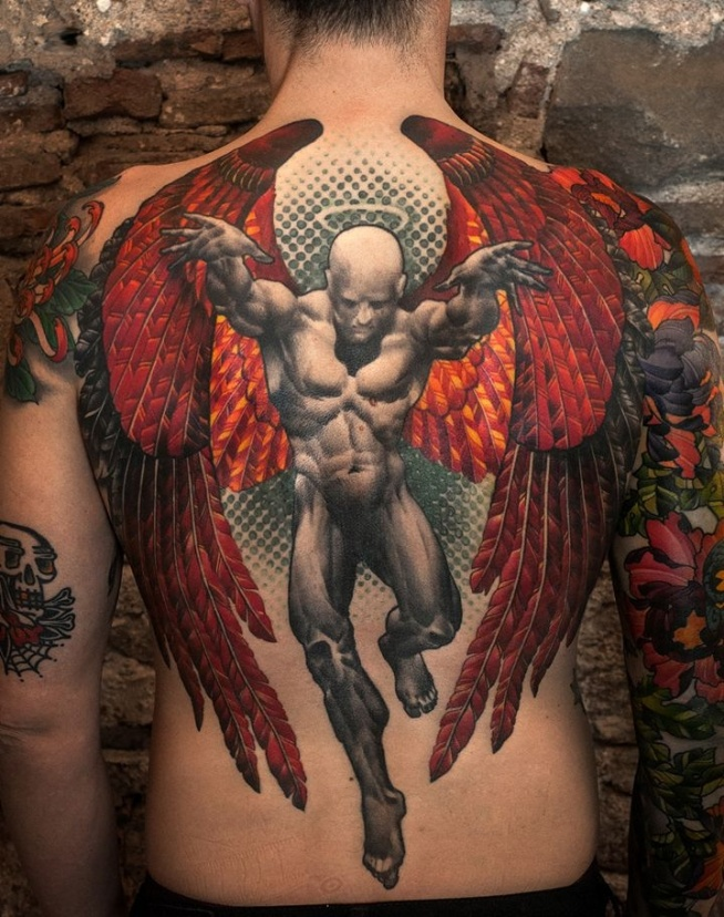 Męski Anioł Tatuaż Na Plecach Na Ciekawe Tatuaże Zszywkapl