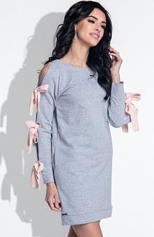 Fobya F373 sukienka szara Rewelacyjna sukienka, wykonana z miękkiej jednolitej bawełny, prosty fason