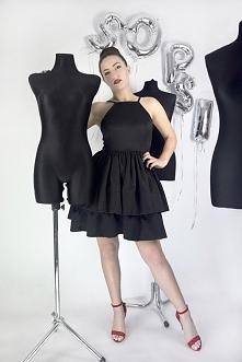 Czarna sukienka rozkloszowana w falbanami od SOPSI w cenie: 299,00 zł <3 www. sopsi.com.pl