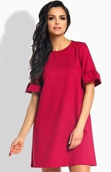 Lemoniade L188 sukienka bordowa Casualowa sukienka, luźny fason tuszuje niedoskonałości sylwetki, krótki rękaw wykończony falbaną