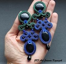 Kolczyki sutasz granatowo zielone - JBF Art