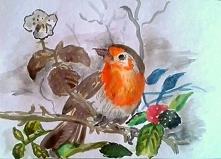 Ptaszek :) Wzorowany na podstawie okładki od bloku przeznaczonego do farb akrylowych.:)