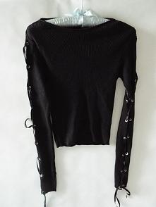 Sweterek czarny rękawy tasiemki wiązane <3