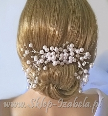 perełki do włosów,grzebień, ślub