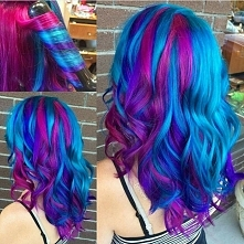 turquise pink hairstyle