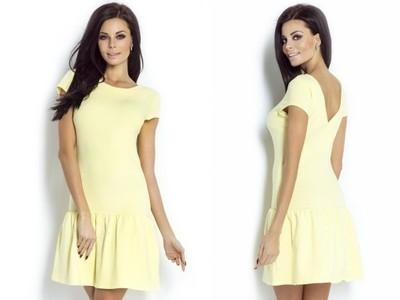 Sukienka z falbaną w wiosennym żółtym kolorze.  Sprawdź na ivon-sklep.pl @ivonsklep