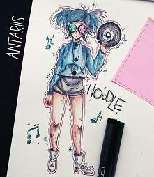 Noodle doodle :3 nowe piosenki Gorillaz po prostu zmusiły mnie do narysowania...