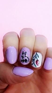 Wiosenne paznokcie :) #wielkanocny zajaczek