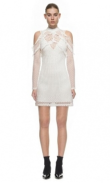 Self Portrait Purl Knit Combi Dress In White