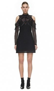Self Portrait Purl Knit Combi Dress In Black
