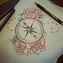 szkic kompas na tatuaż