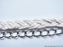 Naszyjnik kolia z łańcucha i sznurka