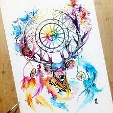 piękny łapacz snów na głowie jelenia