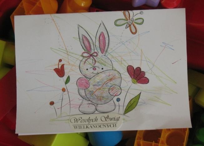 Chciałam się trochę pochwalić, pierwsze kroki w rysowaniu mojego 15 miesięcznego Synka :) Babcia była bardzo zadowolona z takiej kartki.