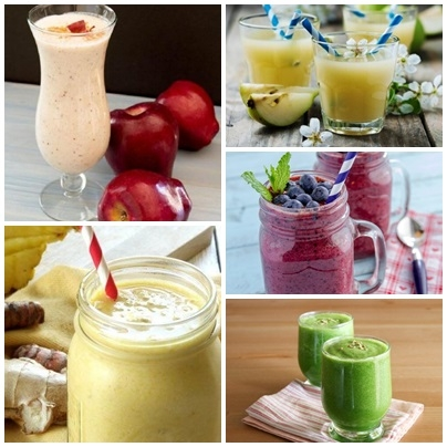 5 propozycji smoothies. 1. Smoothie na śniadanie:  Składniki: 5 truskawek 1/2 mango (80 g) 2 łyżki stołowe płatków owsianych (16 g) 1 łyżeczka nasion chia (8 g) 1 szklanka wody kokosowej (200 ml) Sposób przygotowania: Umyj truskawki i mango. Pokrój je w drobną kostkę. Umieść owoce w blenderze, dodaj wodę kokosową i płatki owsiane. Zmiksuj wszystkie składniki razem aż uzyskają gładką konsystencję. Przelej napój do ulubionej szklanki i dodaj nasiona chia.  2. Smoothie na drugie śniadanie, by oszukać głód. Co będzie Ci potrzebne? sok z 1 cytryny 1 szklanka wody (200 ml) 1/2 szklanki borówek (62 g) – poza sezonem możesz wybrać mrożone owoce 1 szklanka szpinaku (30 g) 1 łyżka stołowa prażonych pestek dyni (8 g) Co należy zrobić? Wyciśnij sok z cytryny. Przelej sok do blendera, dodaj wodę, borówki i szpinak. Miksuj do uzyskania gładkiej konsystencji. Dodaj prażone pestki dyni.  3. Smoothie do głównego posiłku Potrzebne składniki 1 szklanka kapusty (67 g) 1 średniej wielkości awokado 5 migdałów 1 szklanka wody kokosowej (200 ml) Sposób przygotowania To niezwykle smaczne i pożywne smoothie sprawi, że Twoja zgrabna wymarzona sylwetka będzie o krok bliżej. W dodatku jest to świetne uzupełnienie głównego posiłku dnia – sprawdzi się jako dodatek do sałatki, pieczonego indyka lub łososia, a także do sandwicha. Umyj kapustę.Umieść ją w blenderze razem z awokado, migdałami i wodą kokosową. Zmiksuj wszystko – możesz pić smoothie przed, po i do posiłku!  4. Smoothie na podwieczorek: zgrabna sylwetka i płaski brzuch Co będzie Ci potrzebne? 1 jabłko 1 kiwi szklanka wody (200 ml) 1 łyżeczka cynamonu (5 g) łyżeczka miodu (7,5 g) Co należy zrobić? Obierz jabłko i kiwi, pokrój owoce w małe kawałki.Umieść owoce w blenderze, dodaj wodę, miód i cynamon. Zmiksuj i delektuj się smakiem!  5. Oczyszczające smoothie na koniec dnia Potrzebne składniki 1 gruszka 1 niewielkich rozmiarów banan 1 szklanka wody (200 ml) 1 łyżeczka miodu (7,5 g)  Sposób przygotowania Umyj i obierz gruszkę. Przekrój owoc