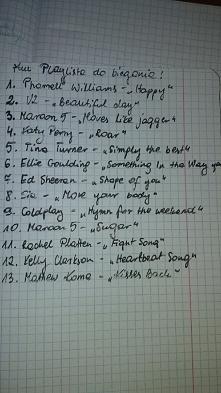 Oto moja lista piosenek motywujących do biegania. Kochani podzielcie się swoją playlistą do biegania
