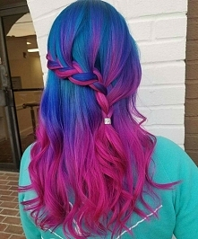 blue + pink ombre hairstyle