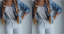 Stylizacja z szarym topem i jeansową kurtką