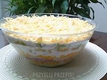 Składniki 6 jajek 2 białe części pora 1 puszka ananasów 1 puszka kukurydzy 1 słoiczek selera konserwowego 25 dag sera żółtego 30 dag szynki konserwowej 4 łyżki majonezu 4 łyżki ...
