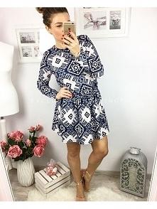 ES-S052 Sukienka Aztec-Różowa #sukienka #aztecka #nowa #modna
