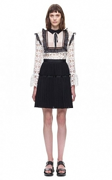 Self-Portrait Adeline Lace-up Pleated Dress In Black & White