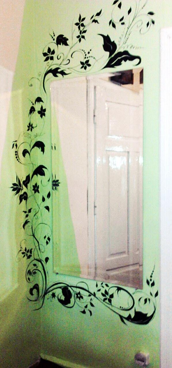 Pomysł jak ozdobić ścianę wokół lustra :)