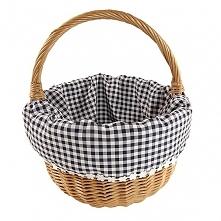 """Wiklinowy koszyk """"BOLERKO"""" wyściełany materiałem (czarno-biała kratka)"""