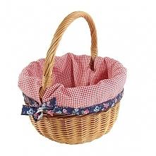 """Wiklinowy koszyk """"BOLERKO"""" wyściełany materiałem (czerwono-biała kratka z tasiemką)"""