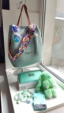 mięta najbardziej poszukiwany kolor torebka damska eko portfel case bransolet...