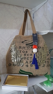 torba worek po kawie SKRZYDŁA na podszewce z kieszonkami skrzydła z cekinków Fb/ Atelier Torebek wysyłka 24h