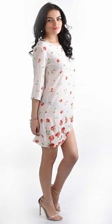 Rewelacyjna sukienka w różyczki z rękawami 3/4 świetnie sprawdzi się na te ba...