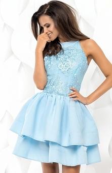 Bicotone 2116-05 sukienka błękitna Piękna wizytowa sukienka, zjawiskowy fason...