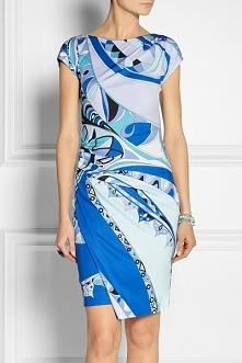 Emilio Pucci Multicolor Print Jersey Mini Dress Blue