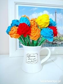 Przepiękne róże wykonane z bibuły marszczonej - nowa instrukcja już na blogu! :)