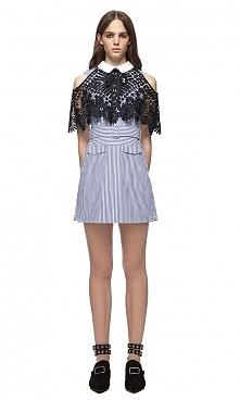 Self Portrait Shirting Lace Cape Mini Dress